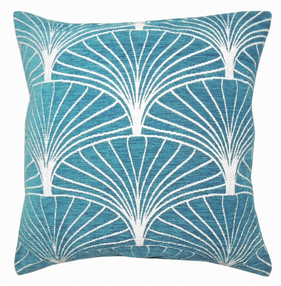 LUXURY SOFT CHENILLE GEOMETRIC SCATTER  FILLED CUSHION TEAL COLOUR